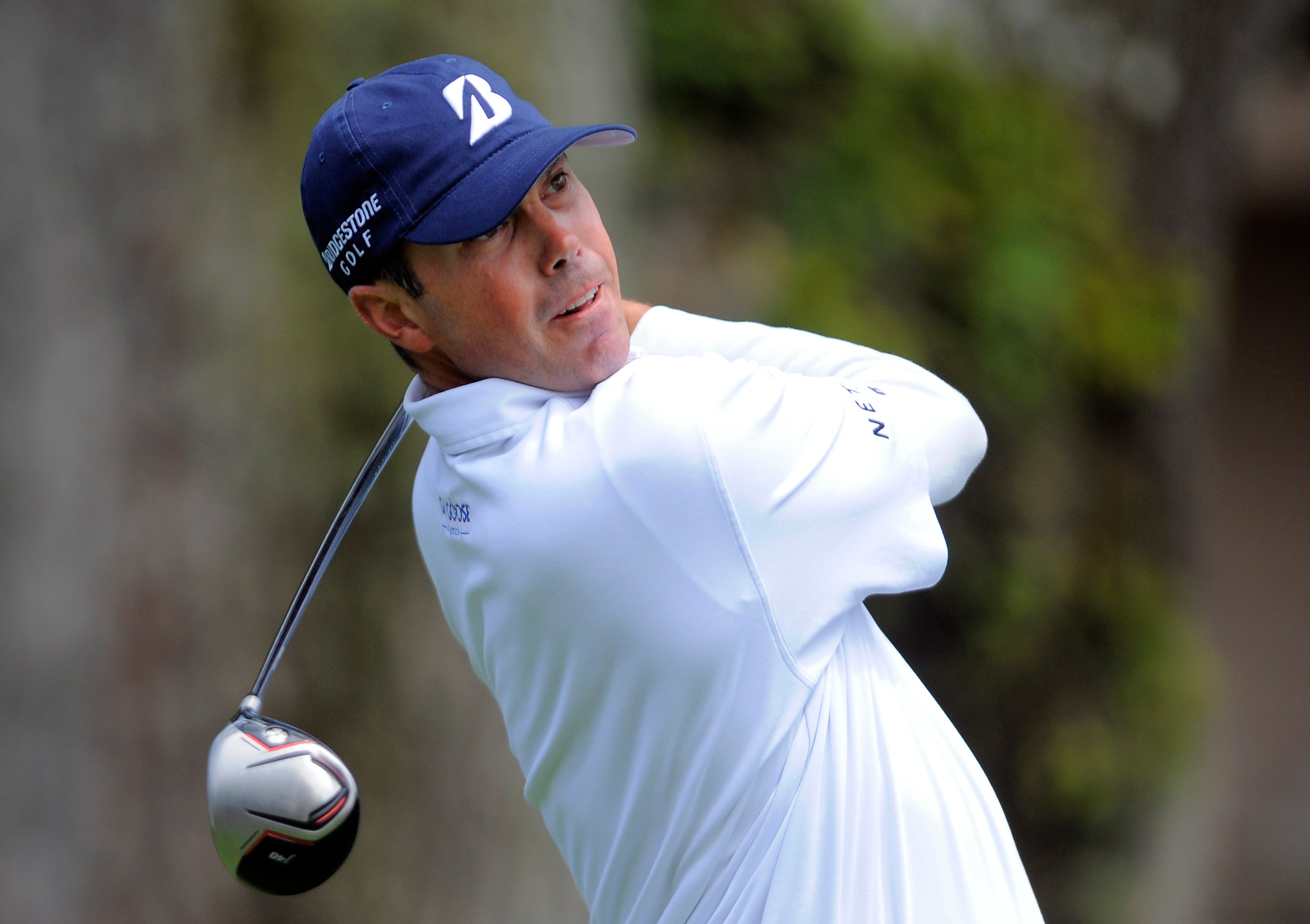 Matt Kuchar watches his drive off the third tee during the final round of the RBC Heritage golf tournament in Hilton Head Island, S.C., Sunday, April 20, 2014. (AP Photo/Stephen B. Morton)