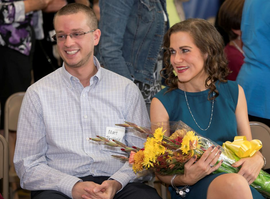 First-grade teacher, Erin Berthold, and husband, Matt, smile during a ceremony where she was named 2018 Connecticut State Teacher of the Year at Cook Hill Elementary School in Wallingford, Tuesday, October 3, 2017.   | Dave Zajac, Record-Journal DAVE ZAJAC
