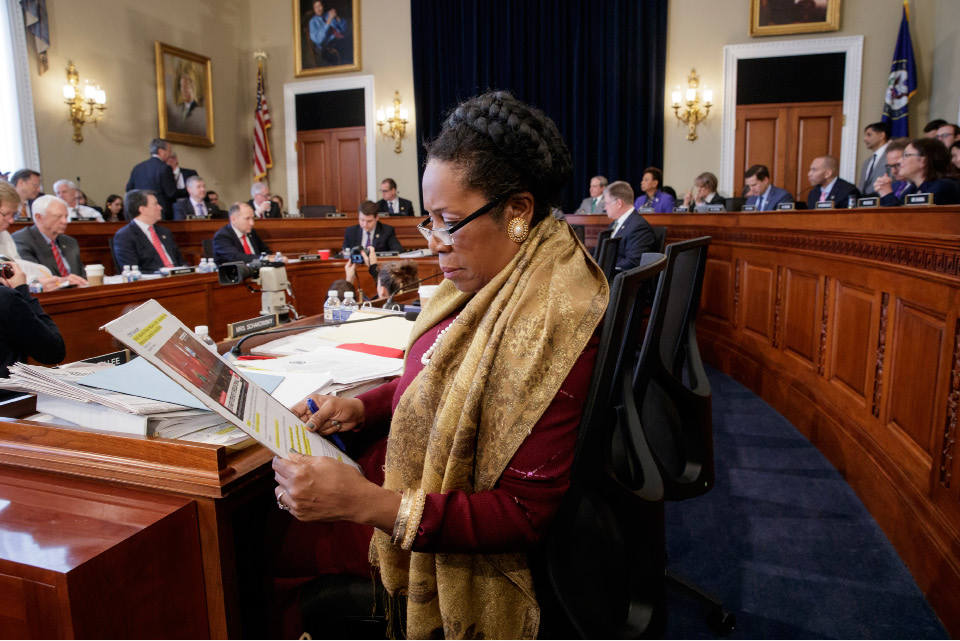 Rep. Sheila Jackson Lee, D-Texas, and the House Budget Committee works on the Republican health care bill, on Capitol Hill in Washington, Thursday, March, 16, 2017.  (AP Photo/J. Scott Applewhite)