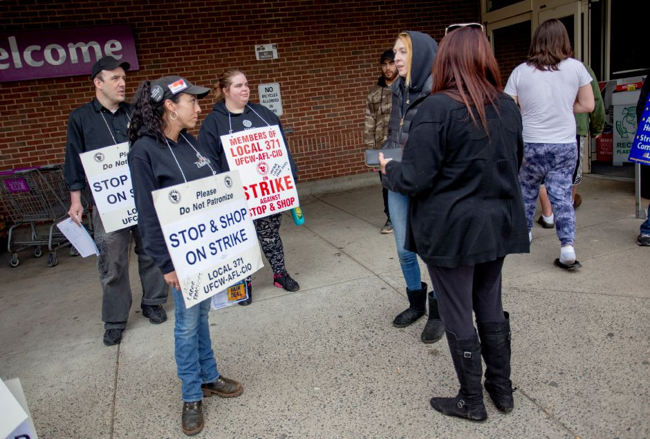 Deolinda Sullivan, or Meriden, who has worked at Stop & Shop for decades, talks with customers who came to the Meriden store Thursday afternoon April 11, 2019 while employees picketed outside the entrances. | Richie Rathsack, Record-Journal