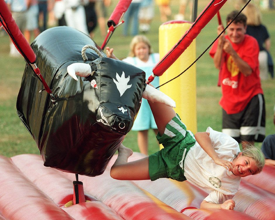 RJ file photo - Danielle Coady, 9, falls from a bucking bull ride at a party for TWIST soccer players in Wallingford