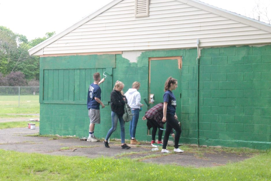 "Coginchaug Regional High School seniors participate the first ""Senior Service Day"" on May 23, 2019. 