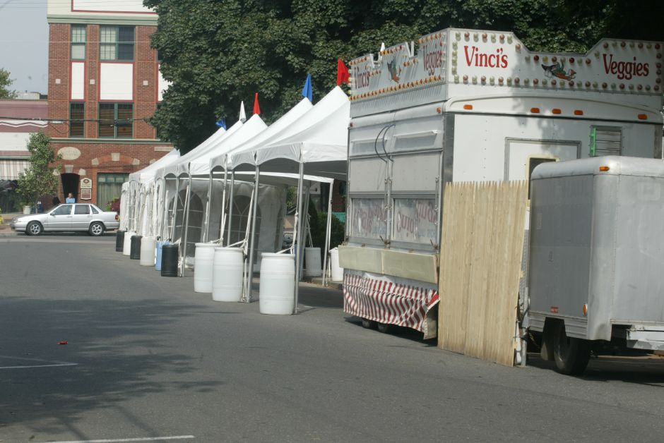 The tents are set-up and all this is needed now to start the Apple Harvest Fesival is the people. The festival kicks off this weekend.