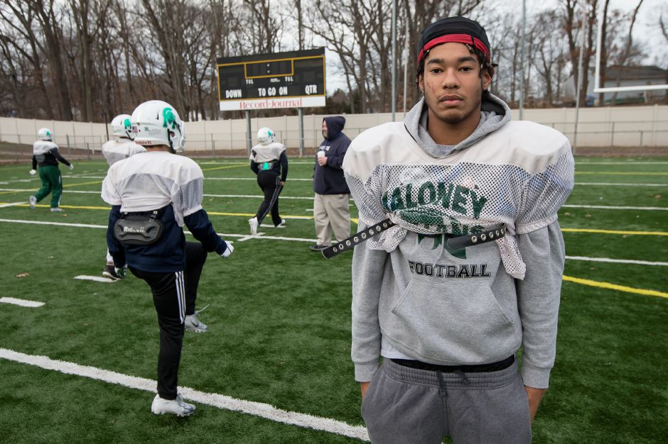 Maloney senior Jaylon Nixon is a rare breed. He's a diver and a linebacker/tight end for the Maloney football team. He had 97 tackles on the season heading into Saturday's Class L state final against Daniel Hand. Justin Weekes, special to the Record-Journal
