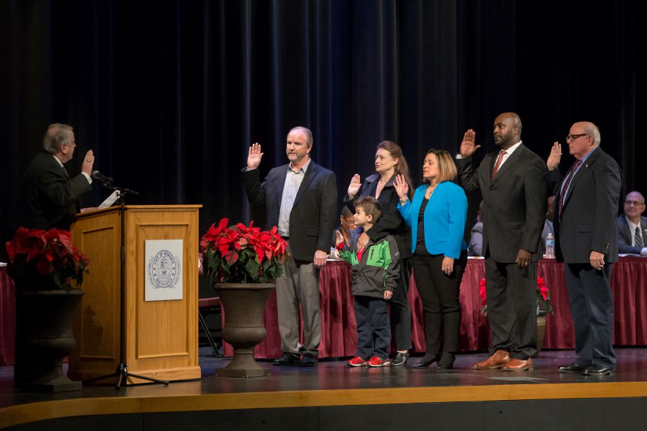 Members of the elected Board of Education are sworn in by Probate Judge Brian Mahon Monday during an Inauguration Ceremony at the Platt High School Theater in Meriden December 4, 2017 | Justin Weekes / For the Record-Journal