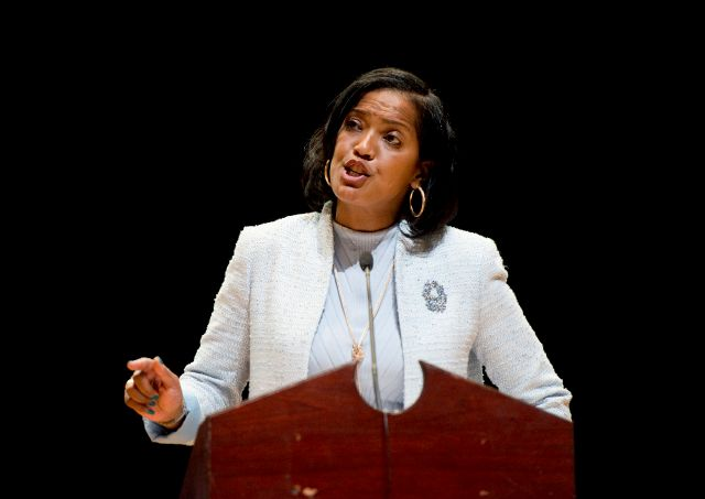 FILE - In this May 14, 2018, file photo, candidate Jahana Hayes addresses delegates during the Democratic convention for the 5th District at Crosby High School in Waterbury, Conn. Wolcott educator Hayes, who won the national award in 2016, topped former Simsbury First Selectman Mary Glassman, a two-time lieutenant governor candidate. If she wins the general election in November, Hayes, 45, will be the first black woman to win a Connecticut congressional seat. (Jim Shannon/Republican-American via AP, File)
