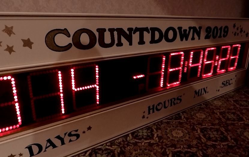 The New Year's Eve countdown clock at Zandri