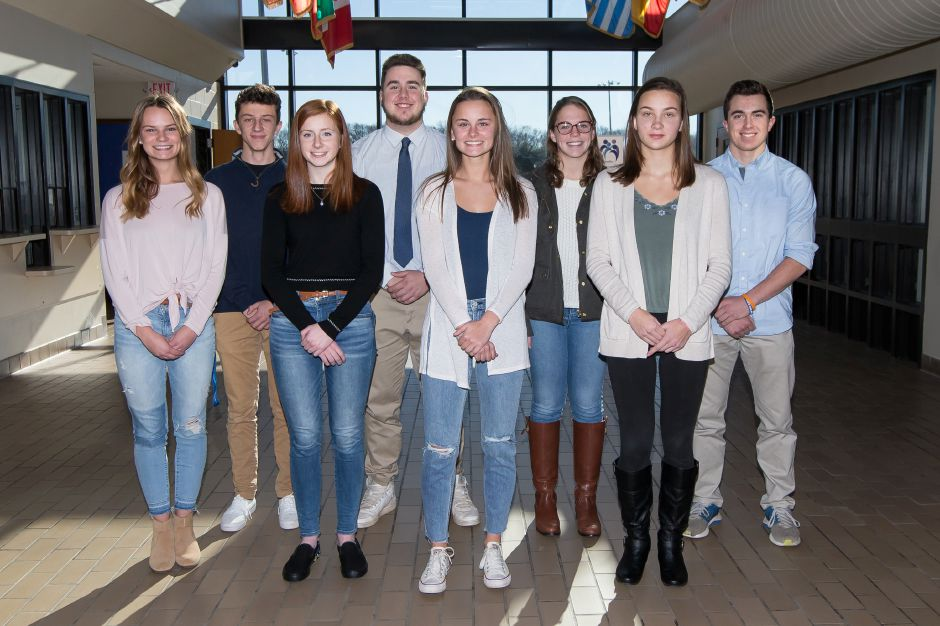 Introducing Southington's Record-Journal Scholar-Athletes for the fall 2018 season. The girls, from left, are Julia Jackman, Kate Kemnitz, Jenna Martin, Natalie Verderame and Julie Duszak. The boys, from left, are Tyler Salzillo, Owen Bouchard and Tyler Strong.