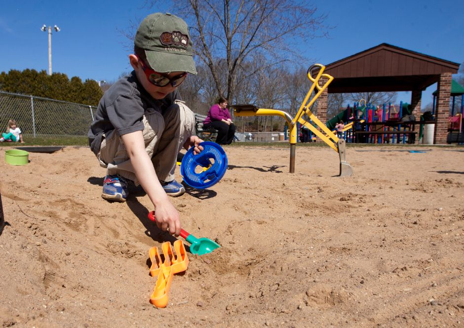 Panthorn Park ranks seventh on TripAdvisor.com's list of things to do in Southington. In this file photo, Evan Lalla, 4, plays in a sandbox, April 8, 2013. (Christopher Zajac / Record-Journal)