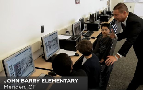 School Superintendent Mark Benigni speaks with students at John Barry Elementary School in a video created by Edutopia highlighting the school district. | Courtesy of Edutopia