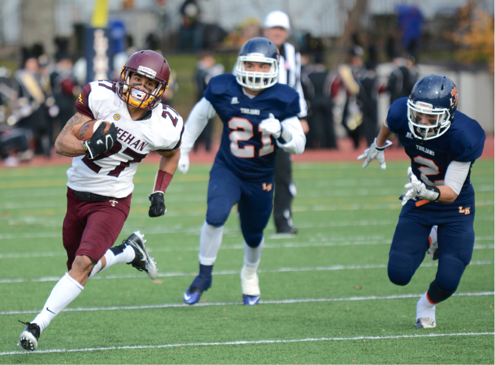 Sheehan's Zach Davis ran for a state-record 543 yards in the 2016 Carini Bowl. He was named All-State First Team by the CHSCA. | Bryan Lipiner, Record-Journal