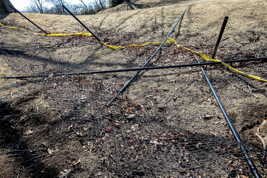 Damage to fencing around the small dog area at the Meriden Dog Park at Beaver Pond in Meriden, Wed., Mar. 20, 2019. Dave Zajac, Record-Journal