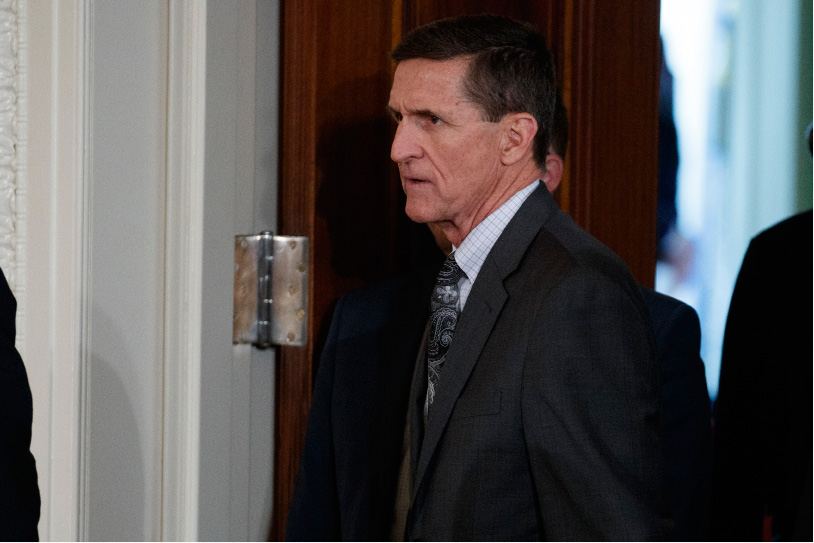 FILE - In this Feb. 13, 2017 file photo, Mike Flynn arrives for a news conference in the East Room of the White House in Washington. Flynn, President Donald Trump's former national security adviser, who was fired from the White House last month, has registered as a foreign agent with the Justice Department for work that may have aided the Turkish government in exchange for $530,000.  (AP Photo/Evan Vucci, File)