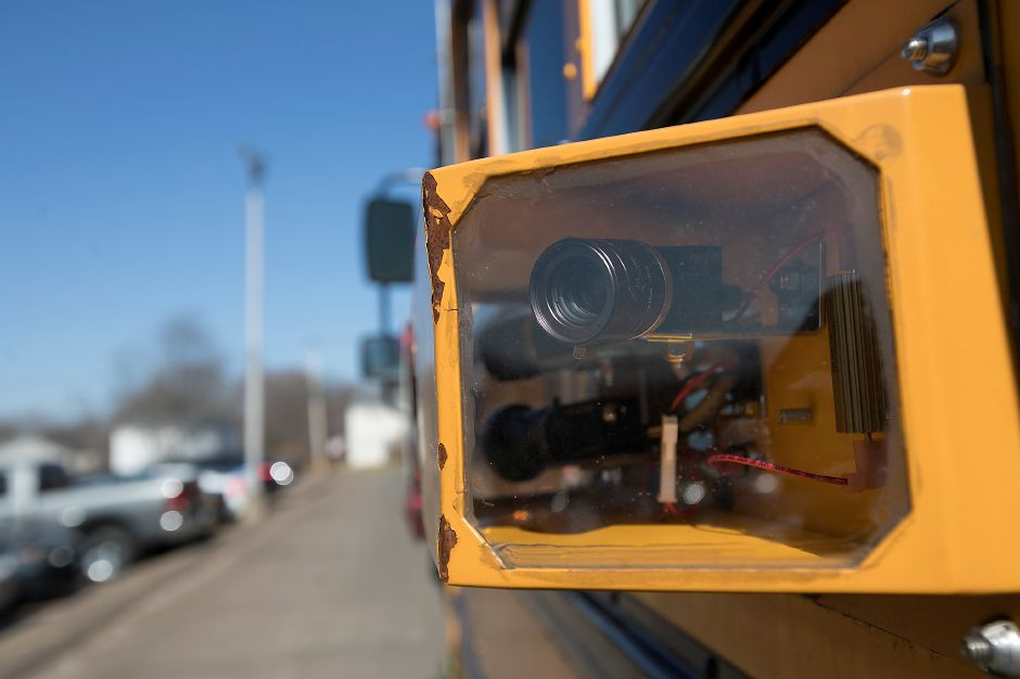 Cameras mounted on a school bus at Lyman Hall High School in Wallingford, Wednesday, February 28, 2018. Dave Zajac, Record-Journal