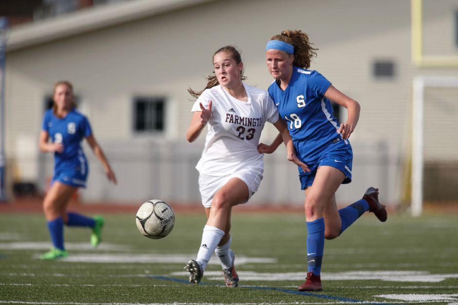 Abby Sowa and the Southington Lady Knights fell to Simsbury on penalty kicks in last year's Class LL state tournament. They'll look for better fortune as the No. 1 seed in this year's tournament. Record-Journal file photo