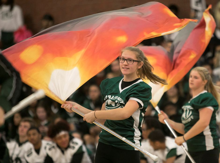 Marissa Klimovich, 16, performs with the Maloney color guard during the annual pep rally at Maloney High School in Meriden, Wednesday, Nov. 22, 2017. | Dave Zajac, Record-Journal