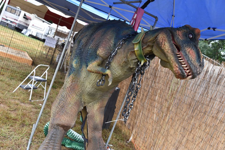 "The nonprofit ""Dino Trail"" offered a fossil dig and La Brae Tar Pit exhibit at the North Haven Fair, pictured Friday, Sept. 7. A human-size dinosaur also roamed the fairgrounds during the four-day 76th annual fair. 