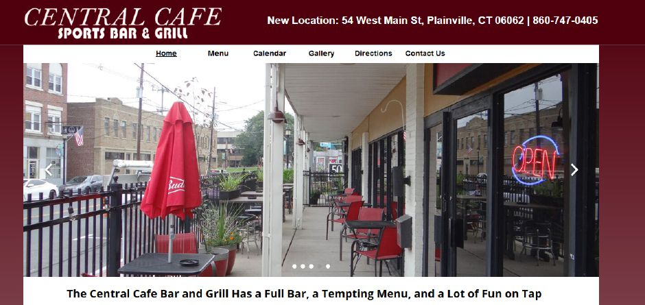 A screenshot of the Central Cafe Sports Bar & Grill website.