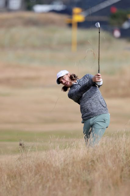Tommy Fleetwood practices for  The Open Championship at Carnoustie Golf Links, Angus,Scotland, on Sunday. Richard Sellers, PA via AP