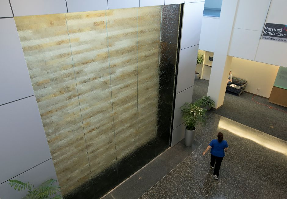 A large waterwall in the lobby of MidState Medical Center in Meriden, Tuesday, May 15, 2018. Dave Zajac, Record-Journal