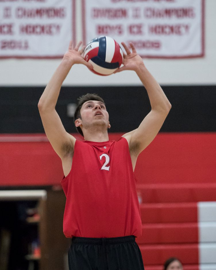 Luke Pinciaro and the Cheshire boys volleyball team erased a 2-0 deficit to beat Shelton 3-2 on Monday night and win their fifth straight match. | Justin Weekes / Special to the Record-Journal
