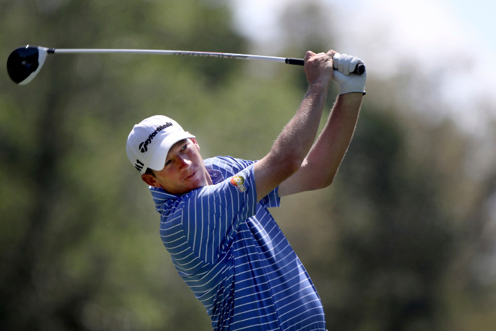 Jim Herman drives on the ninth hole during the first round of the Valspar Golf Championship in Palm Harbor, Fla., Thursday, March 9, 2017.  (Douglas R. Clifford/Tampa Bay Times via AP)
