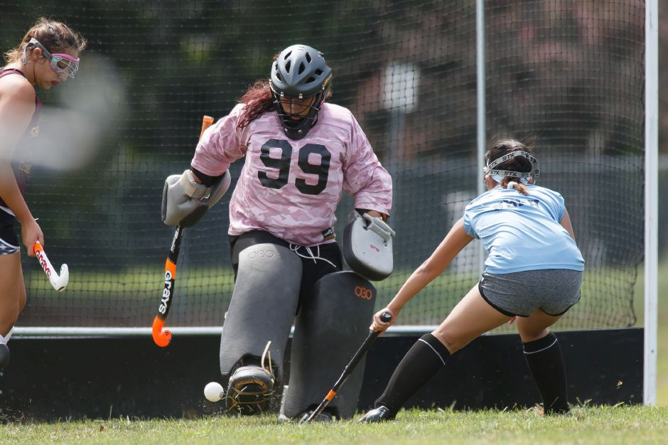 Junior Jailyn Sandoval returns to her starting goalkeeper's job for the Sheehan hockey team.