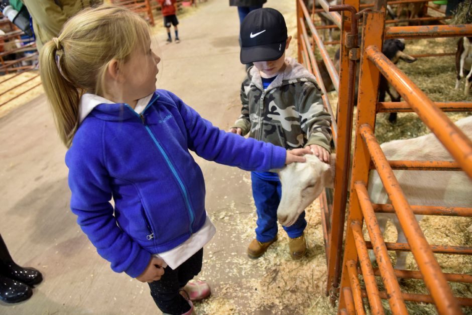 Charlotte Waldron, 7, and her brother James, 4, of Middlefield, pet a goat at the Durham Fair on Friday, Sept. 28, 2018. | Bailey Wright, Record-Journal
