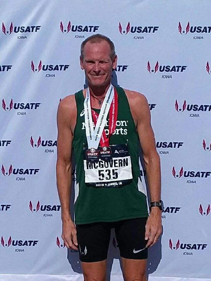 Cheshire native Kevin McGovern won silver in the pentathlon and bronze in the long jump at the USATF Masters Outdoor Championships at Iowa State University earlier this month. | Photo courtesy of Kevin McGovern