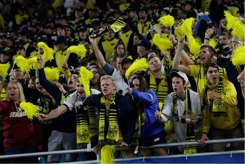 Michigan fans cheer their team during the first half of the Orange Bowl NCAA college football game against Florida State , Friday, Dec. 30, 2016, in Miami Gardens, Fla. (AP Photo/Alan Diaz)