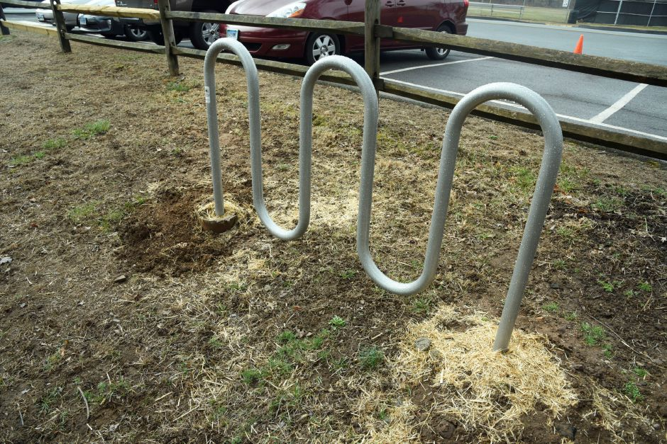 Local Eagle Scout Matthew Johnson installed a bike rack at Allyn Brook Park, pictured on Saturday, April 6, 2019. | Bailey Wright, Record-Journal
