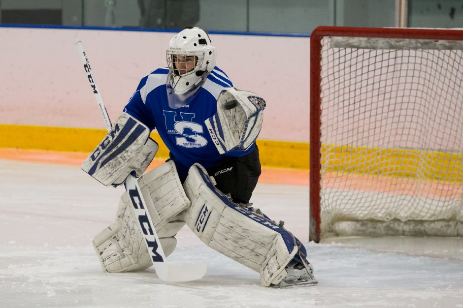 Hall-Southington goaltender Zach Monti of Southington had 15 saves in Saturday's 1-1 rivalry tie with Conard at Veterans Memorial Rink in West Hartford. | Justin Weekes / For the Record-Journal