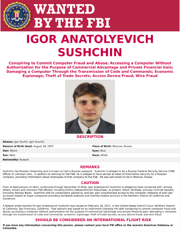 This wanted poster provided by the FBI shows Igor Anatolyevich Sushchin, 43, a Russian national and resident is seen. The United States announced charges Wednesday, March 15, 2017,  against two Russian intelligence officers, including Sushchin, and two hackers, accusing them of a mega data breach at Yahoo that affected at least a half billion user accounts. (FBI via AP)