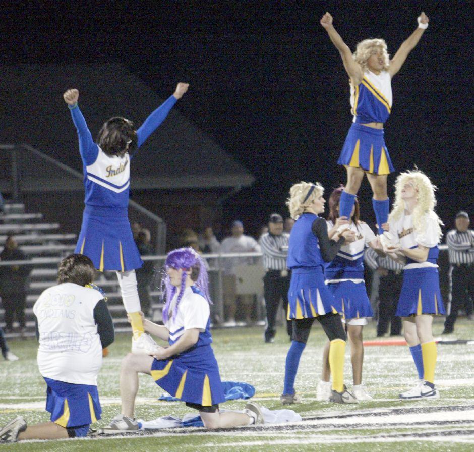 MERIDEN, Connecticut - Friday, November 20, 2009 - Wilcox Tech powder puff cheerleaders perform their halftime routine at Falcon Field on Friday, November 20 during the annual powder puff game agaist Platt Tech. Rob Beecher / Record-Journal