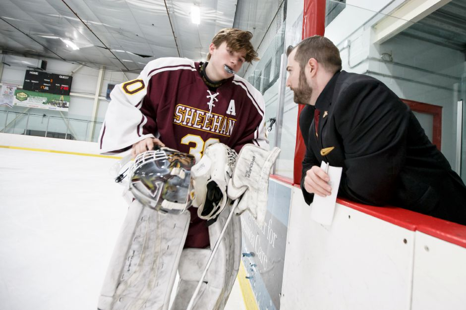 "Despite noticeably favoring an injured right leg, Sheehan goaltender Tyler Robertson was not going to sit for Sunday night's game at Northford Ice Pavilion against the Lyman Hall Co-op. Nor was assistant coach Jerry Maust, fiillng in for absent head coach Dave Festa, going to ask him to. ""You're going to need a crowbar to get him out of the net,"" said Maust. 