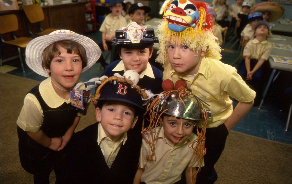 RJ file photo - Hat Day at St. Joseph School in Meriden Jan. 21, 1994. In the front row, from left, Joseph Evola and Dylan McNulty. In the back row, Emily James, Zachary Latham and Patrick King.