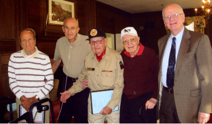 Bill Radston, U.S. Navy, World War II; Fred Damm, U.S. Navy, World War II; Charlie French, U.S. Army, World War II; John Minardi, U.S. Army Air Corp, World War II; and Earl Kumm, U.S. Army, peacetime.