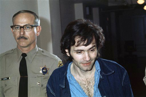 Charles Manson, accused murderer in the Sharon Tate murder case in Los Angeles, is shown clean-shaven and with a haircut, Nov. 10, 1970. (AP Photo)
