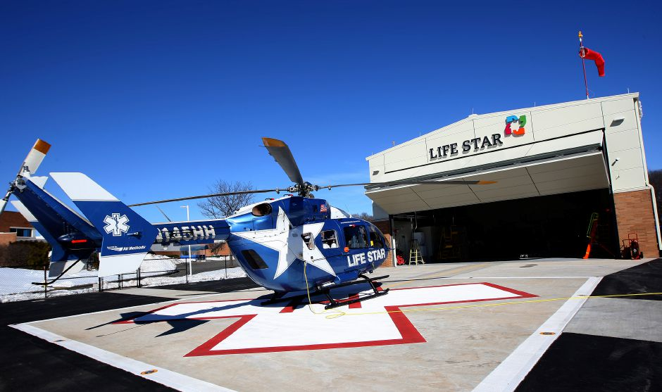 Life Star 2 helicopter seen on the pad next to a new hangar at MidState Medical in Meriden, Friday, February 17, 2017. | Dave Zajac, Record-Journal