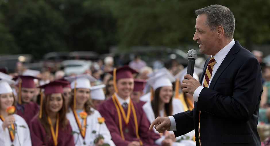 Superintendent Salvatore Menzo speaks to graduates during graduation ceremonies at Sheehan High School, Friday, June 22, 2018. Dave Zajac, Record-Journal