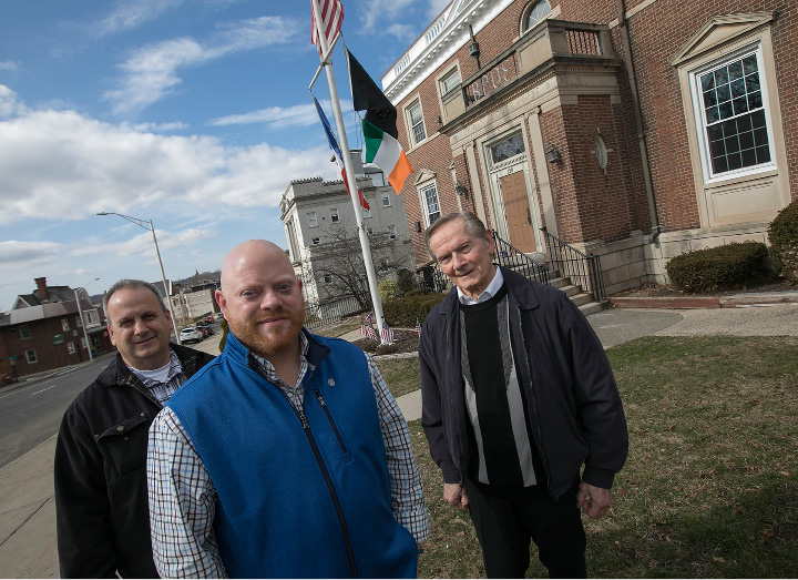 Elks members, from left, Dan Michalak, Nate Tencza and Robert Kosienski Sr. stand in front of the Elks Club building on East Main Street in Meriden. | Dave Zajac, Record-Journal