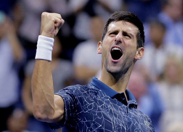 Novak Djokovic, of Serbia, celebrates after defeating Kei Nishikori, of Japan, during the semifinals of the U.S. Open tennis tournament, Friday, Sept. 7, 2018, in New York. (AP Photo/Seth Wenig)