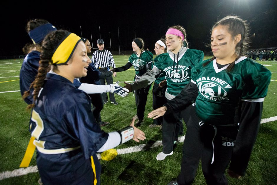 Players shake hands after the game. | Justin Weekes, Special to the Record-Journal