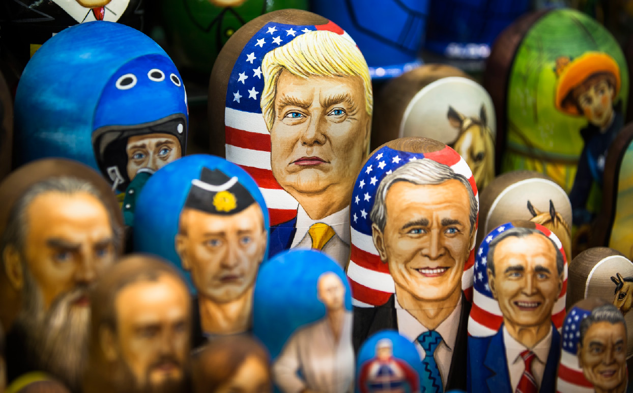 Matryoshkas, traditional Russian wooden dolls, including a doll of U.S. President Donald Trump, top, are displayed for sale in Moscow, Russia, Thursday, March 2, 2017. Trump has repeatedly said that he aims to improve relations with Russia, but Moscow appears frustrated by the lack of visible progress as well as by support from Trump Administration officials for continuing sanctions imposed on Russia for its interference in Ukraine. (AP Photo/Alexander Zemlianichenko)