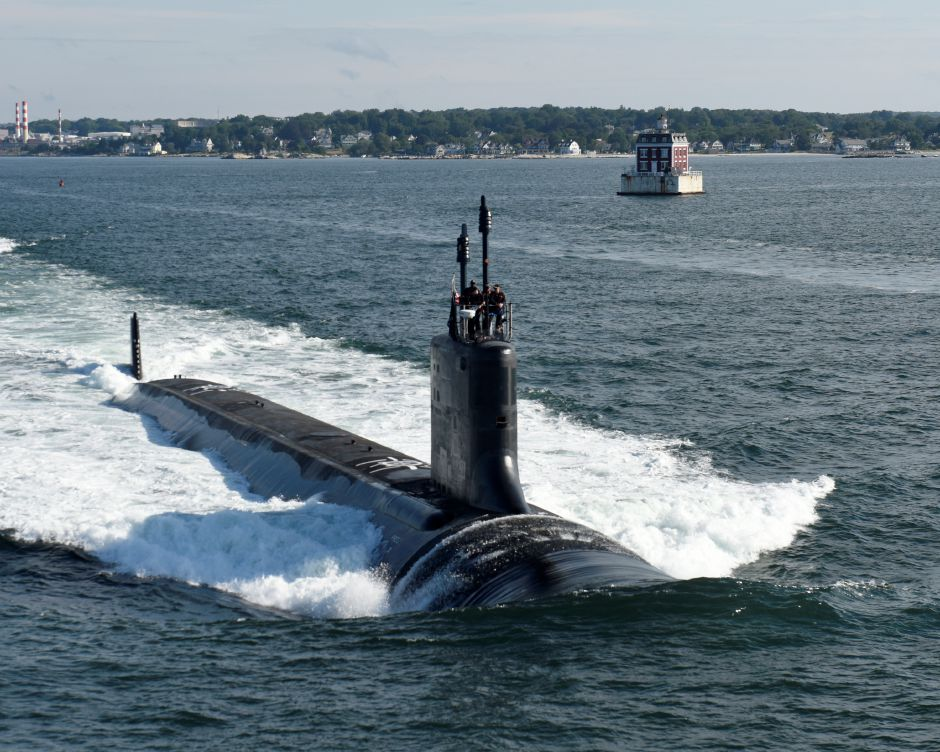 160801-O-N0101-111 GROTON, Conn. (Aug. 1, 2016) The future Virginia-class attack submarine USS Illinois (SSN 786) conducts sea trials. Illinois is a flexible, multi-mission platform designed to carry out the seven core competencies of the submarine force: anti-submarine warfare; anti-surface warfare; delivery of special operations forces; strike warfare; irregular warfare; intelligence, surveillance and reconnaissance; and mine warfare. (U.S. Navy photo courtesy of General Dynamics Electric Boat/Released)