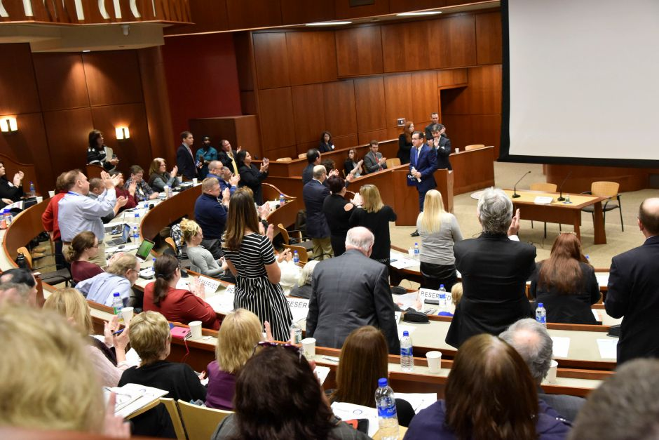 Connecticut Governor Dannel Malloy addresses a summit on the opioid epidemic at the Quinnipiac University School of Law, on Friday, Nov. 9, 2018. | Bailey Wright, Record-Journal