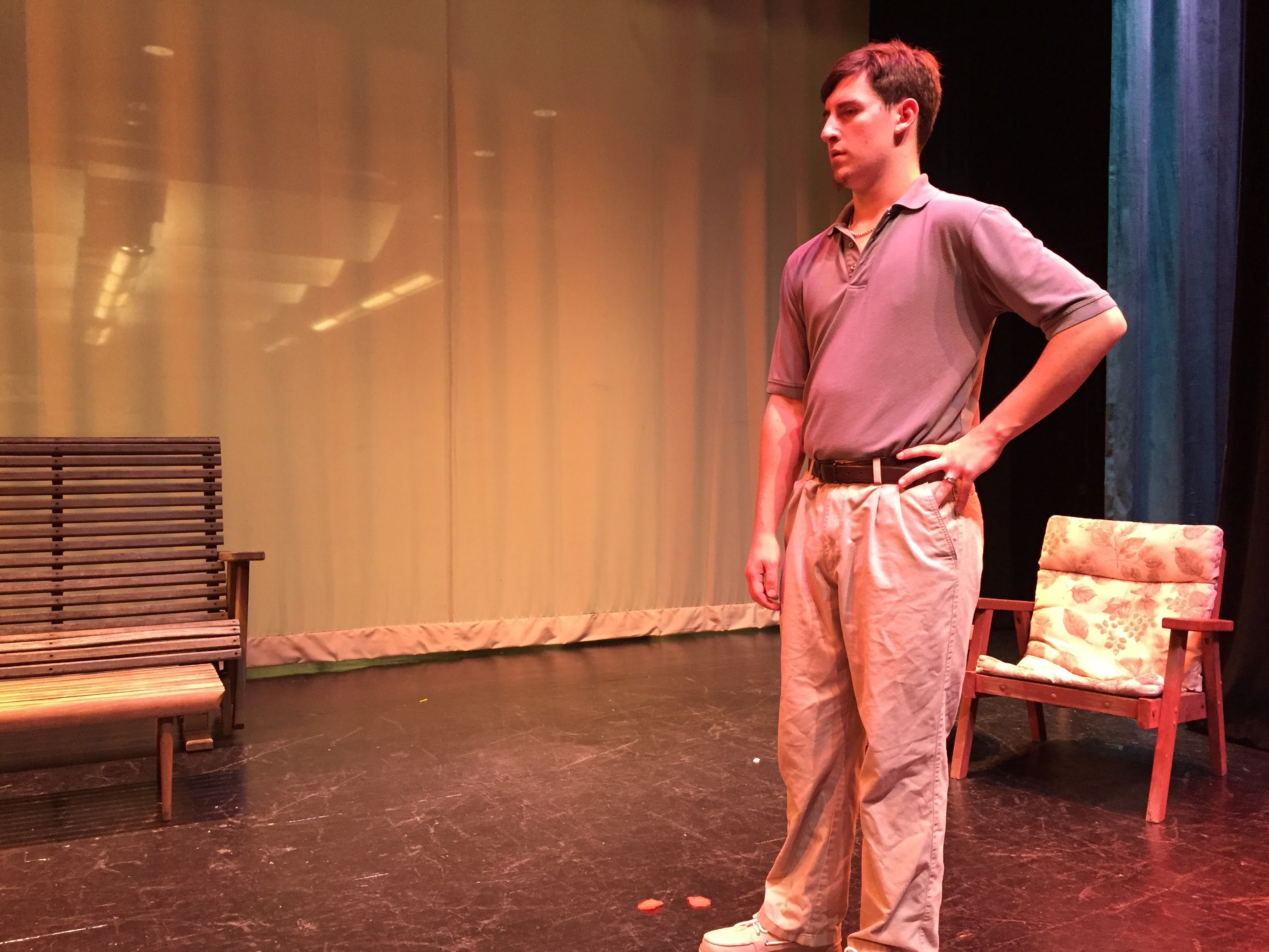 "Plainville high school student Bryan Skarb rehearses for ""All My Sons."" 
