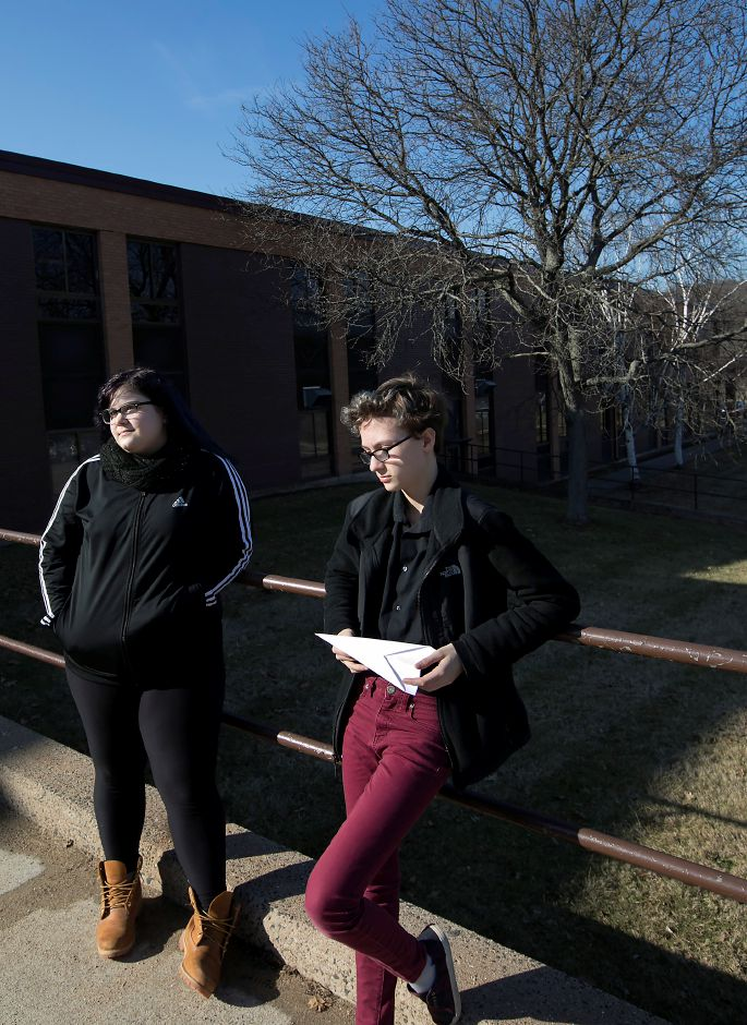 Students Angelina Tiroletto, 15, left, and Sam Gontarz, 15, talk outside Sheehan High School, Wednesday, February 21, 2018. The two are organizing a walkout at the school in response to the Parkland, Florida school shooting. Dave Zajac, Record-Journal