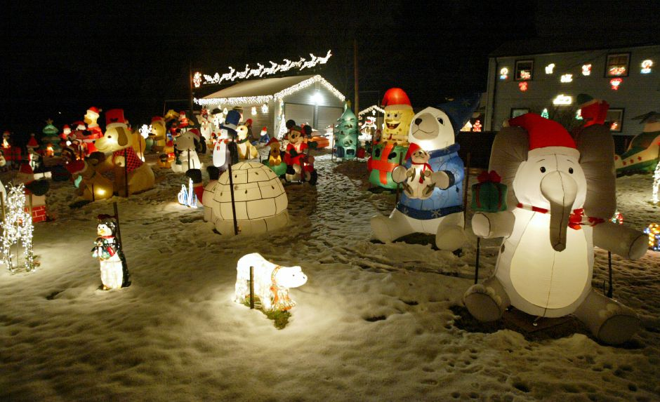 WALLINGFORD, Connecticut - Wednesday, December 9, 2009 - The Christmas yard display at John & Linda Mercier