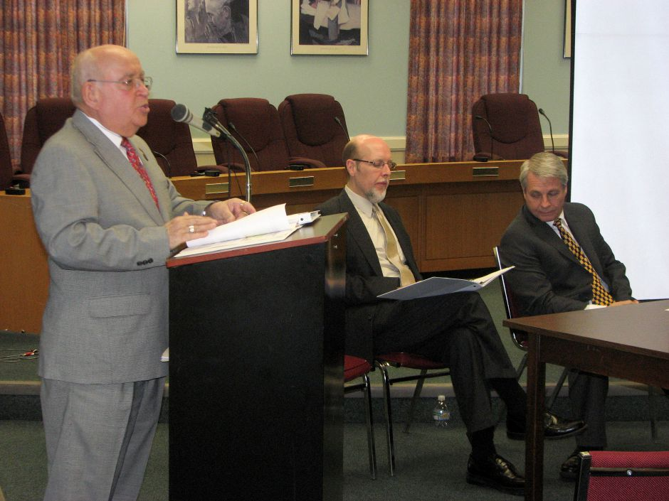 (From left to right): Republicans state Rep. Al Adinolfi, state Sen. Joe Markley and state Sen. Len Suzio discuss their no tax increase budget plan at the Cheshire Town Hall on Thursday April 21, 2011. (Jesse Buchanan/ Record-Journal)